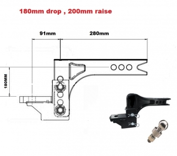 3503KG Adjustable towbar Ball Mount  ** FREE DELIVERY **